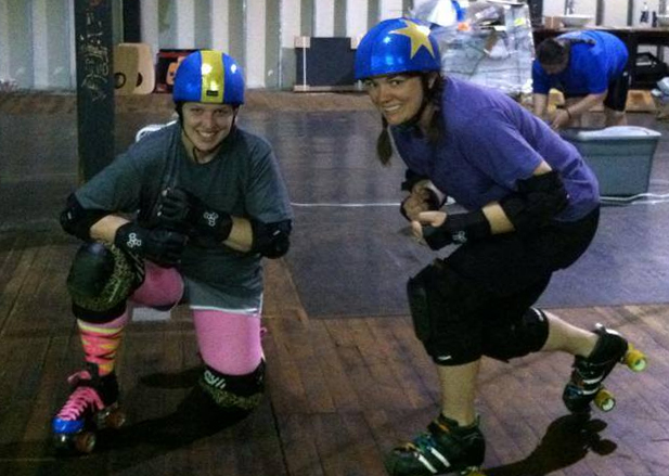 Rikki and Renee model our roller derby new helmet covers by Derby Skinz.