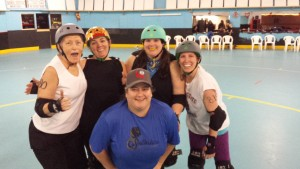 (back)Mother of Anarchy, Roxy Slaughter, Damn Yell, Dazey Girl and (front) Bitches Bruze/Amy Jo Moore attend the Black & White scrimmage hosted by the Upper Valley Vixens in Enfield, NH (photo by Will Jettison)